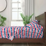 Tie Dye July 4th America American Flag 100 Cotton Sateen Sheet Set By Roostery