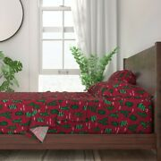 Cactus Cacti Christmas Christmas Cactus 100 Cotton Sateen Sheet Set By Roostery