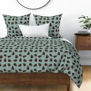 Pinecones Autumn Fall Cool Leaves Cone Sateen Duvet Cover By Roostery