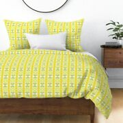 Yellow Orange Rows Lime Green Leaves Leaf Seed Sateen Duvet Cover By Roostery