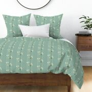 Mid Century Mod Lava Lamps Stripes Mint Green Sateen Duvet Cover By Roostery