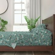 Pinecones Sage Spruce Winter Christmas 100 Cotton Sateen Sheet Set By Roostery