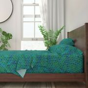 Leaf Tile Texture Grout Curve Moroccan 100 Cotton Sateen Sheet Set By Roostery