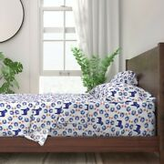 Swedish Folk Art Horse Blue And White 100 Cotton Sateen Sheet Set By Roostery