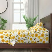 Food Bee Tile Farm Spoon Natural 100 Cotton Sateen Sheet Set By Roostery