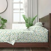 Watercolor Paint Green Gold Mint 100 Cotton Sateen Sheet Set By Roostery