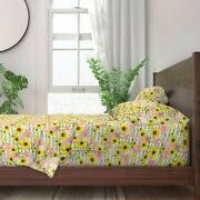 Thin Stripes Dark Green Sunflower 100 Cotton Sateen Sheet Set By Roostery