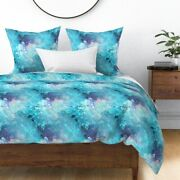 Blue Sky Cloud Marble Turquoise Swimming Pool Sateen Duvet Cover By Roostery