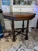Antique Karpen Hexagon Large Round Table Sculpted Wood Table Beautiful Rare