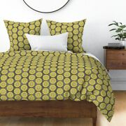 Floral Retro Mid Century Large Scale Gold Herb Sateen Duvet Cover By Roostery