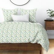 Watercolor Paint Green Gold Mint Stripes Sateen Duvet Cover By Roostery