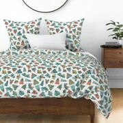 Moth Doodle Illustrated Bugs Cute Pink And Aqua Sateen Duvet Cover By Roostery