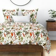 Winter Berries Vintage Botanicals Pinecones Red Sateen Duvet Cover By Roostery