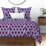Geometric Fans Squares Fun White Red Purple Sateen Duvet Cover By Roostery