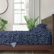Navy Seaweed Modern Nautical Fabrics 100 Cotton Sateen Sheet Set By Roostery
