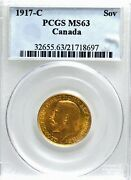 Canada George V 1917-c Gold Sovereign, Pcgs Ms-63.