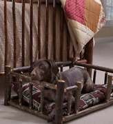 Usa Hand Made Handcrafted Hickory Dog Rail Bed Xl Hardwood Natural Wood Strong