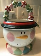 Pier 1 Imports Snow Man Christmas White Red Candy Dish Bowl New