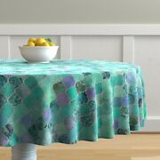 Round Tablecloth Moroccan Mint Green Ogee Watercolor Patchwork Cotton Sateen