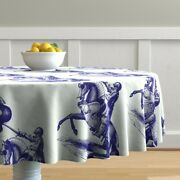 Round Tablecloth Knights Blue Antique Knight Horse Hume Fogg Cotton Sateen