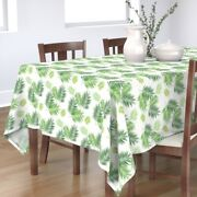 Tablecloth Palm Leaf Tree Green Tropical Plant Leaves Greenery Cotton Sateen