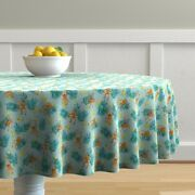 Round Tablecloth Monkey Tropical Watercolor Animal Mint Green Cotton Sateen
