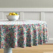 Round Tablecloth Watercolor Floral Blossoms Pink Mint Green Cotton Sateen