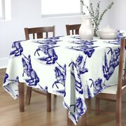 Tablecloth Knights Blue Antique Knight Horse Hume Fogg Mascot And Cotton Sateen