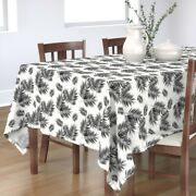 Tablecloth Black + White Palm Leaf Leaves Fern Tree Summer Cotton Sateen
