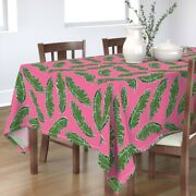 Tablecloth Tropical Palm Leaf Pink Banana Jungle Hollywood Regency Cotton Sateen