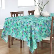 Tablecloth Moroccan Mint Green Ogee Watercolor Patchwork Emerald Cotton Sateen