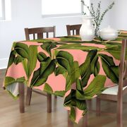 Tablecloth Botanical Palm Tropical Banana Leaf Coral Leaves Cotton Sateen