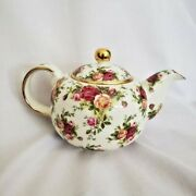 Large 5 Cup Royal Doulton Royal Albert Teapot Old Country Roses Trimmed In Gold
