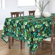Tablecloth Tropical Leaves At Night Jungle Green Banana Leaf Palm Cotton Sateen