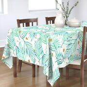 Tablecloth Watercolor Palms Mint Green And Gold Tropical Plant Cotton Sateen