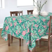 Tablecloth Palm Leaf Tropical Green Leaves Summer Banana Hand Cotton Sateen