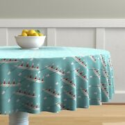 Round Tablecloth Row Crew Boat Rowing Team Sport Water Oars Cotton Sateen
