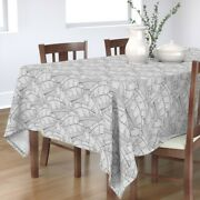Tablecloth Black And White Banana Leaf Modern Palm Forest Leaves Cotton Sateen
