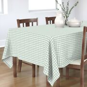 Tablecloth Rustic Grid Watercolor Farmhouse Checkered Mint Green Cotton Sateen