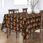 Tablecloth Vintage Halloween Haunted House Spooky Witch Black Cats Cotton Sateen