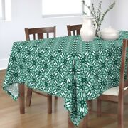 Tablecloth Watercolor Green Green And White Mint Geometric Tile Cotton Sateen
