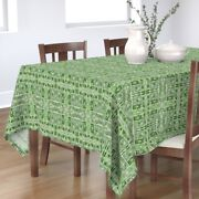 Tablecloth 2084 Green Dots Basket Weave Spring Tendrils Boxes Cotton Sateen