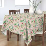 Tablecloth Jungle Floral Pink Green Tropical Island Palm Leaf Rose Cotton Sateen