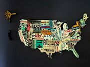 Large Cutout Us License Plate Map- Metal Wall Art All 50 States 32 X 18
