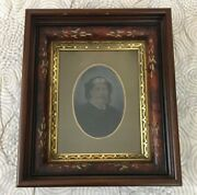 Aafa Antique Vermont Hand Colored Tintype Portrait In Gold And Wood Frame