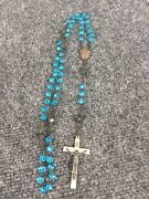 Antique Vtg Italy Blue Crystal Silverplate Cross Rosary