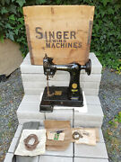Antique Small Glove Sewing Machine Singer 91k5 1936 + Original Box Never Used
