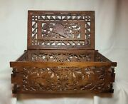 Vintage Hand Carved Wooden Keepsake/jewelry Box With Birds Flowers Initials Lec