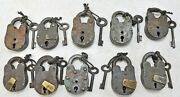 Antique Lot Of 10 Iron Levers System Pad Locks Original Old Hand Crafted