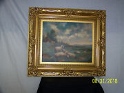 Antique Oil On Canvas Painting Gold Gilded Frame Artist Signed Martinez